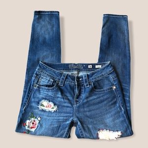 Miss Me distressed skinny jeans with patches